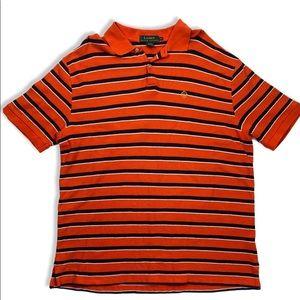 Ralph Lauren Orange Striped Polo T Shirt, Men's XL